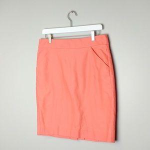 NWT! J. Crew coral cotton pencil skirt